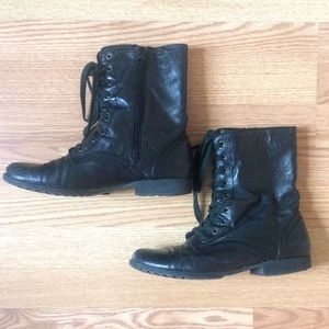 Nine West Leather Combat Boots